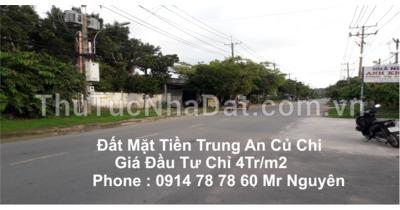 Bán đất mặt tiền đường Trung An xã Hoà Phú Củ Chi giá chỉ :4tr/m2