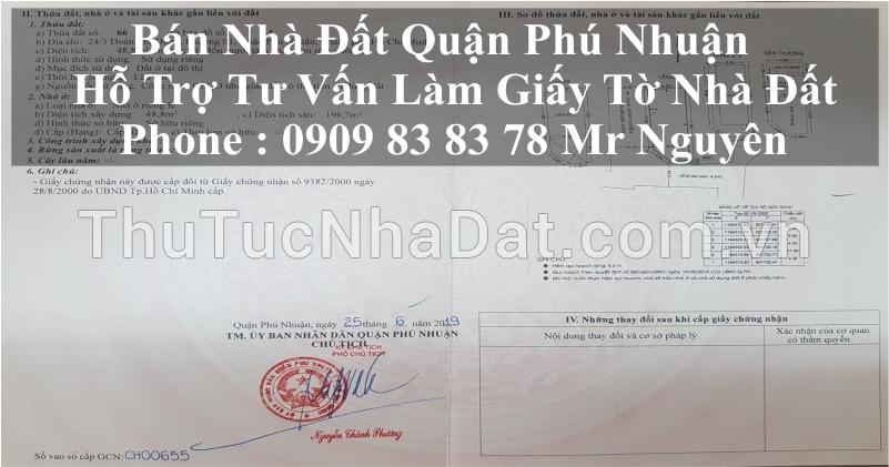 Bán nhà số 529/55 Huỳnh Văn Bánh, Phường 14, Quận Phú Nhuận