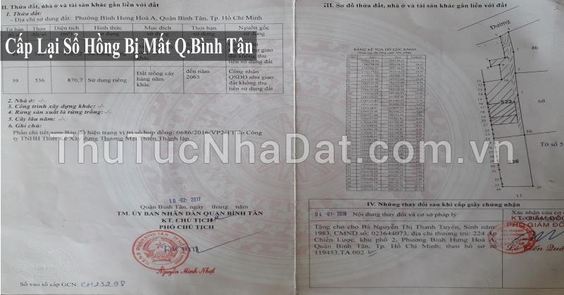 Cấp lại giấy chứng nhận bị mất,thất lạc Quận Bình Tân
