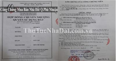 Dịch Vụ Công Chứng Mua Bán Nhà Đất Quận Phú Nhuận