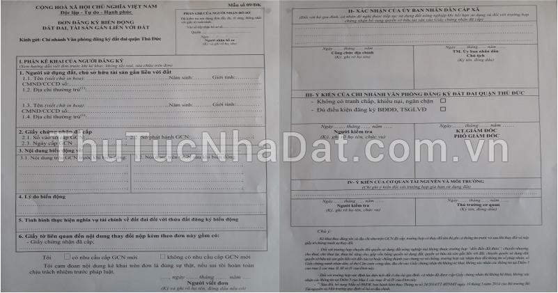mẫu đơn đăng ký biến động