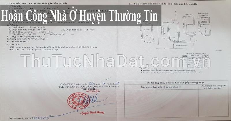 Dịch Vụ Hoàn Công Nhà Ở Huyện Thường Tín