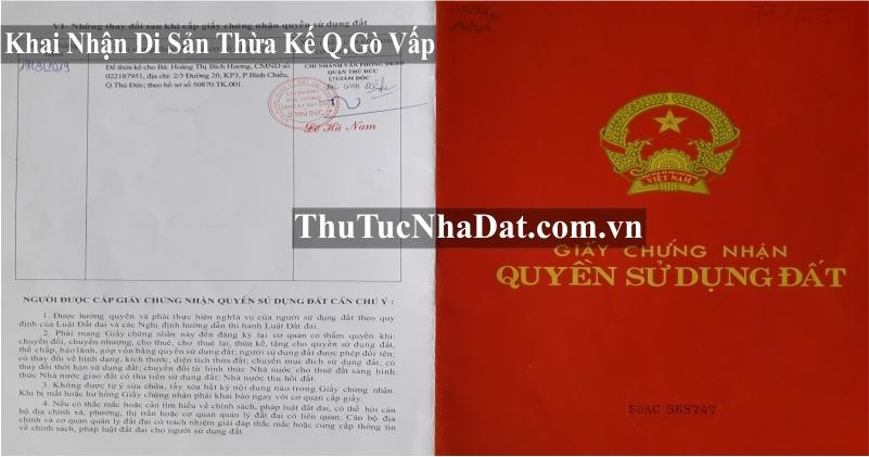 Dịch Vụ Khai Nhận Di Sản Thừa Kế Quận Gò Vấp