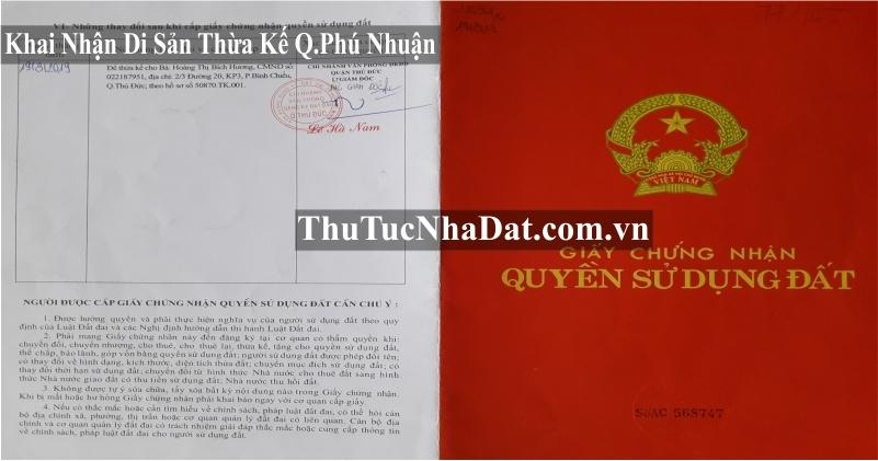 Dịch Vụ Khai Nhận Di Sản Thừa Kế Quận Phú Nhuận
