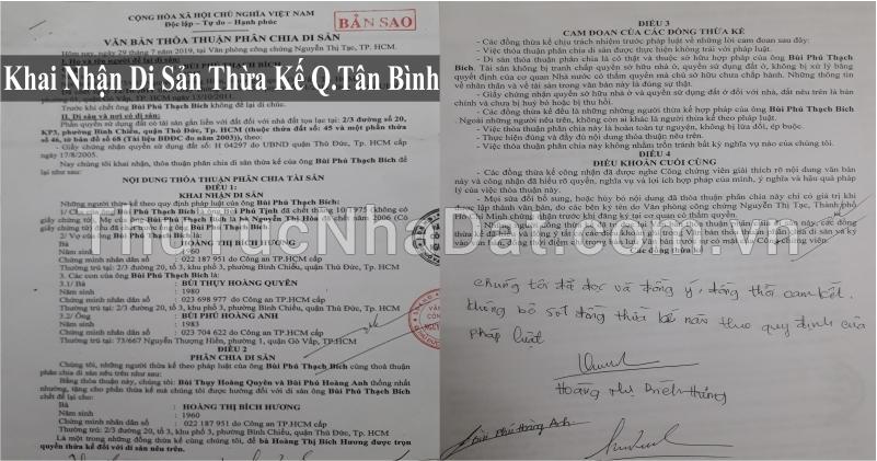 Dịch Vụ Khai Nhận Di Sản Thừa Kế Quận Tân Bình