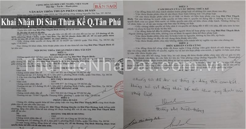 Dịch Vụ Khai Nhận Di Sản Thừa Kế Quận Tân Phú