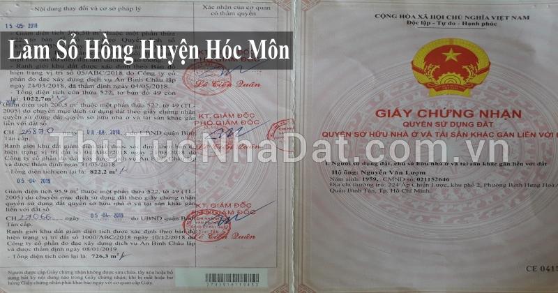 Dịch Vụ Làm Sổ Hồng Huyện Hóc Môn