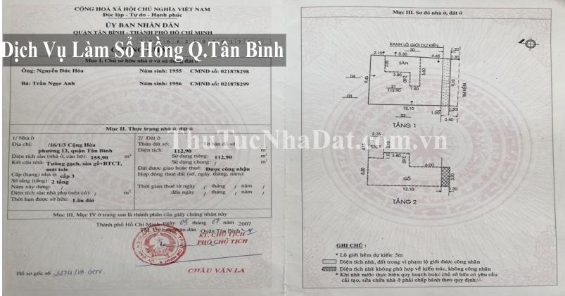 Dịch Vụ Làm Sổ Hồng Quận Tân Bình