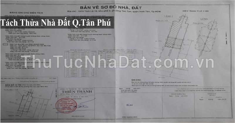 Dịch Vụ Tách Thửa Nhà Đất Quận Tân Phú